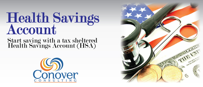 Health savings account with conover consulting logo and start saving explanation