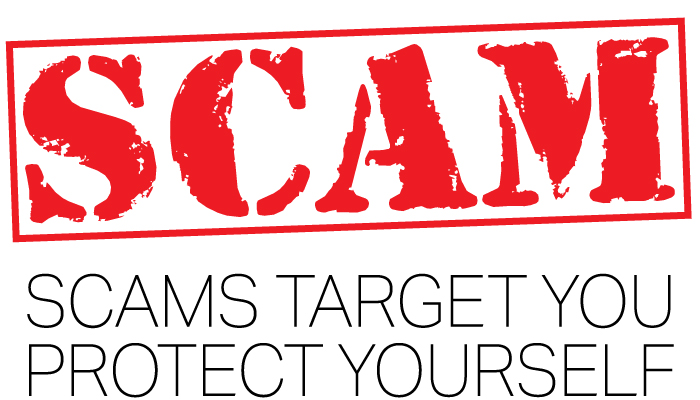 scams stamp in red with scams target you protect yourself underneath