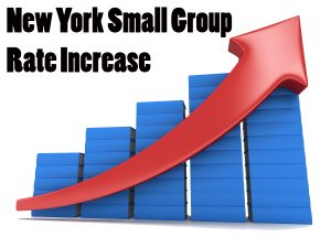 new york small group rate increase with arrow climbing bar graph