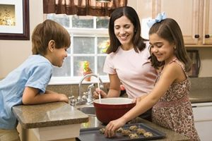 money and kids around sink in kitchen