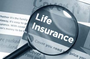 Life insurance concept with leaflets and magnifying glass in monochrome